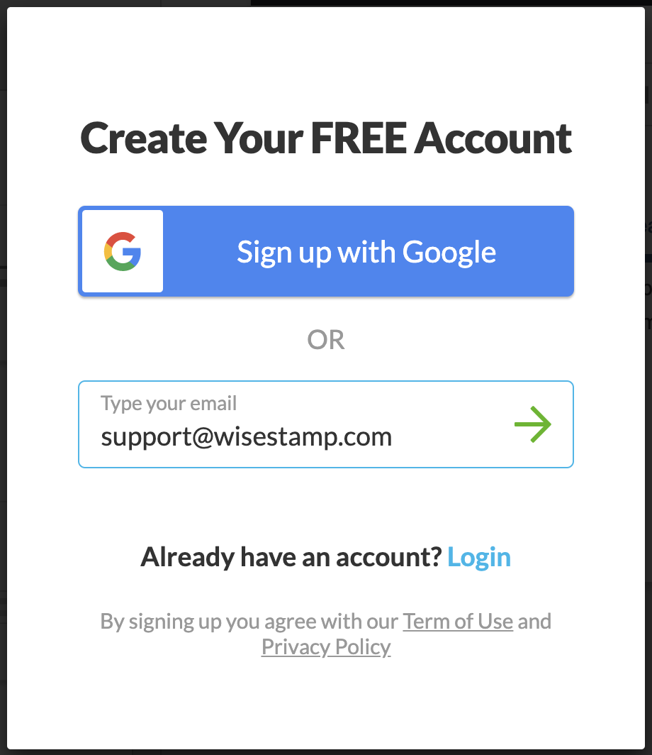 Screenshot of an account creation page showing options to Sign up with Google or by typing your email