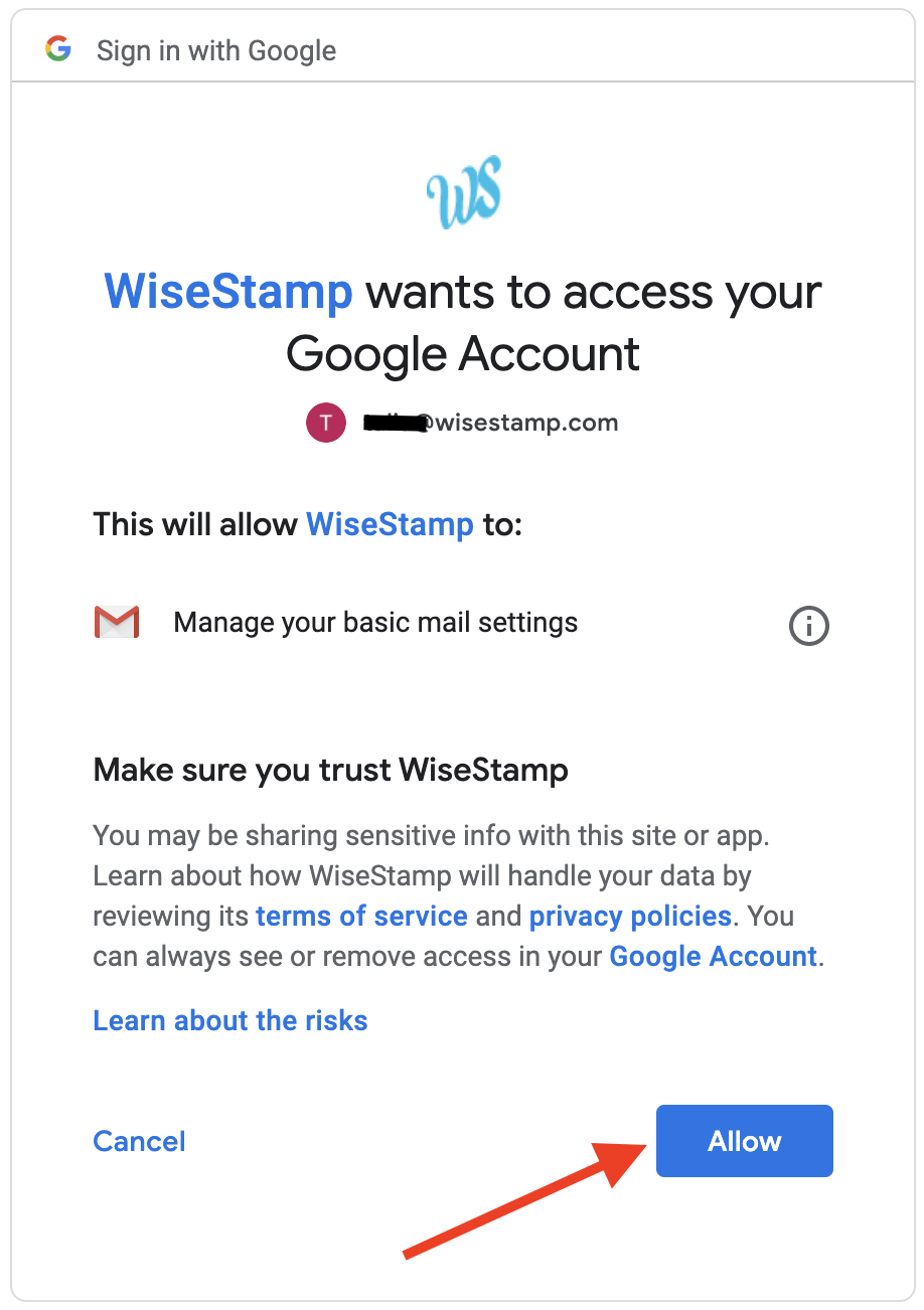Screenshot of a Google verification pop-up with an arrow pointing to a blue Allow button on the bottom