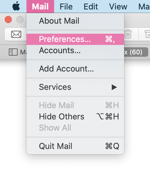 Screenshot of the Mail settings bar showing the dropdown list of options, highlighting Preferences