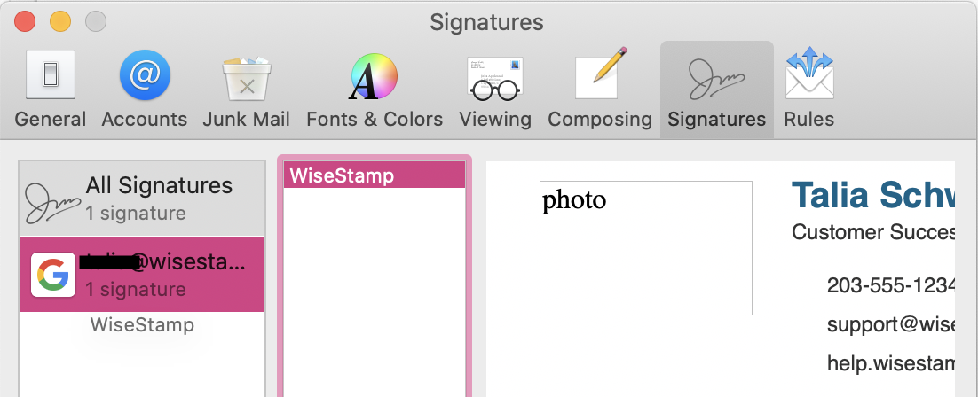 Screenshot showing how to move the new signature into the proper email address on the far right hand side within the Mac Mail signature settings