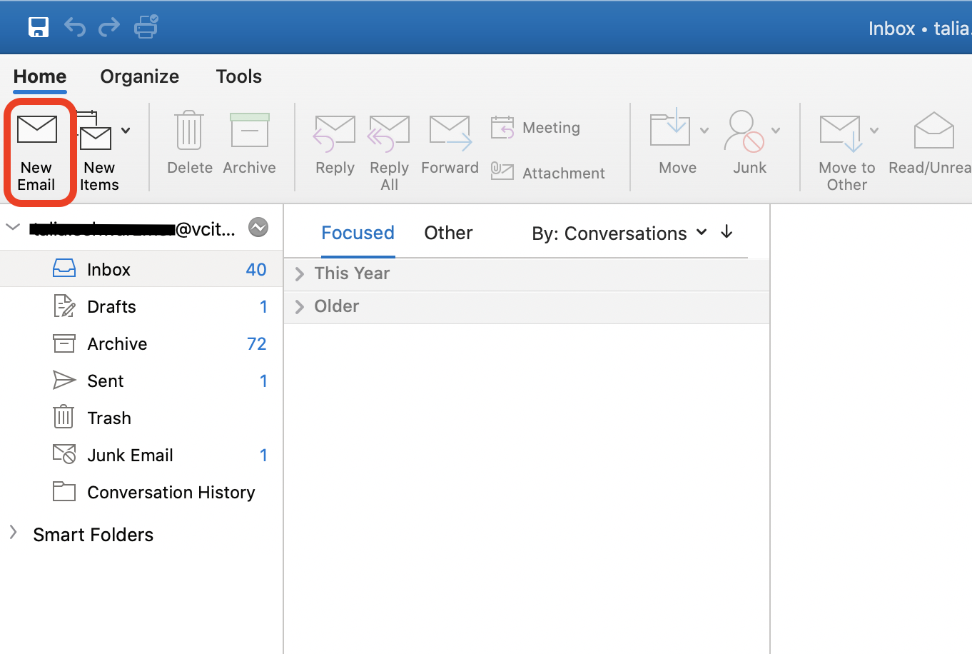 Screenshot of the Outlook desktop for Mac program with a square around the New Email option on the top left