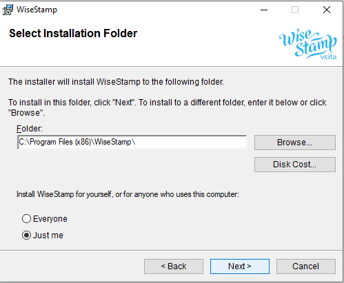 screenshot of the WiseStamp setup wizard for Outlook showing location of the download