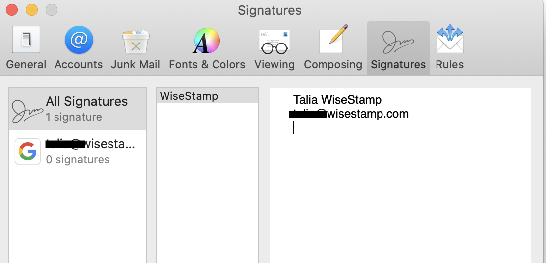 Screenshot showing how to delete auto-filled text in the Mac Mail signature settings