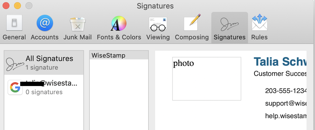 Screenshot showing the WiseStamp signature pasted into the Mac Mail signature settings far left pannel