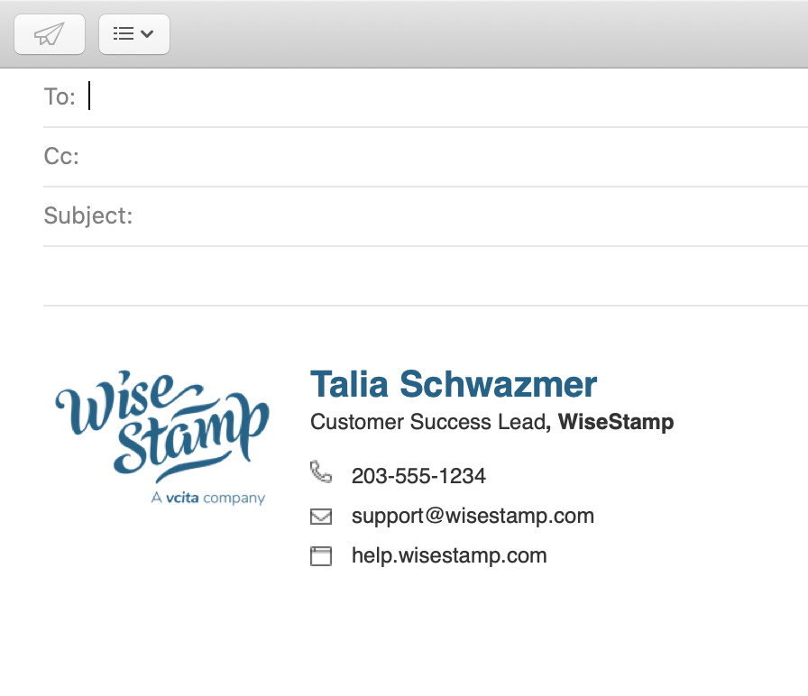 Screenshot of the WiseStamp signature in a new Mac Mail email