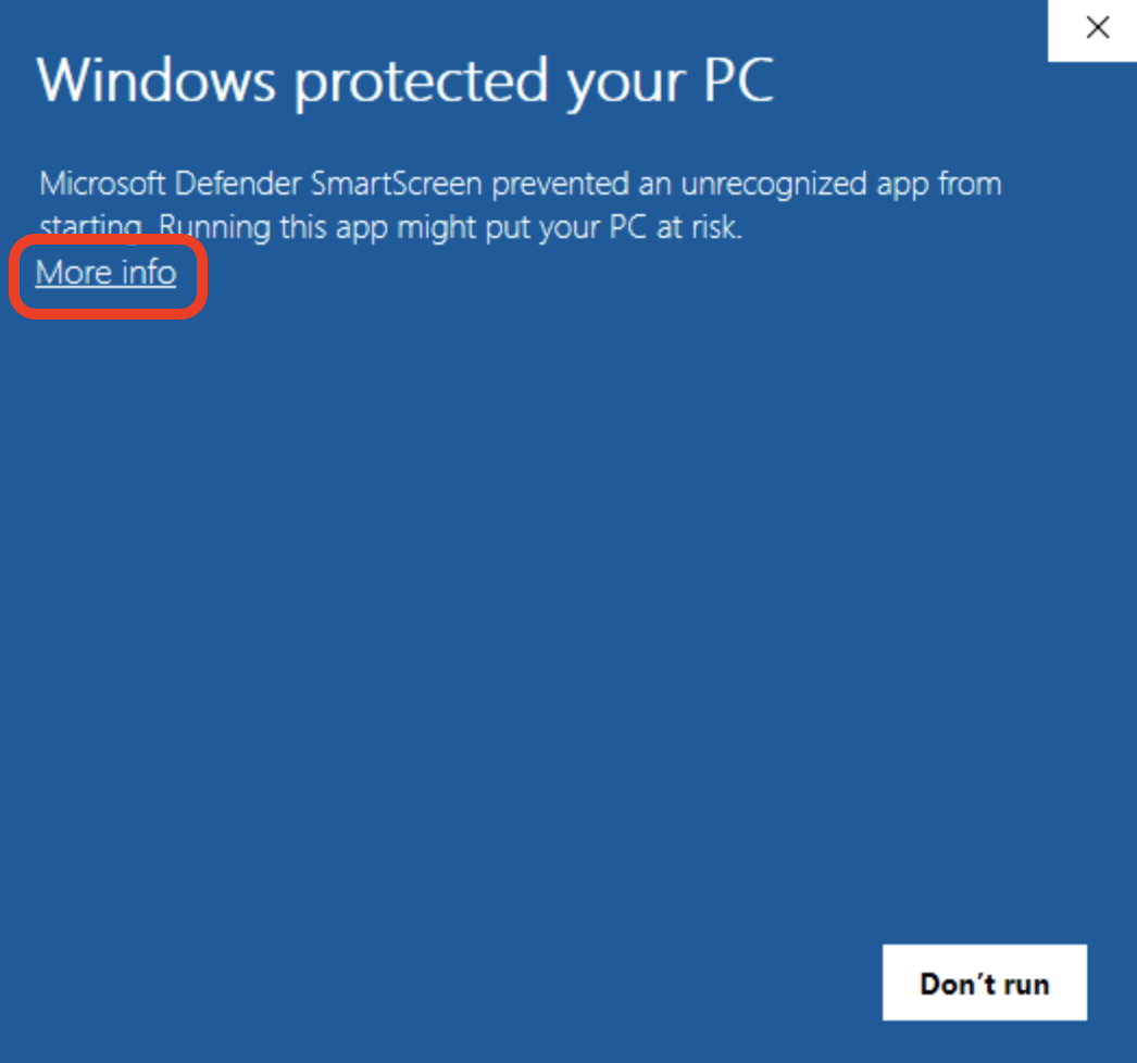 Screenshot of a blue pop-up window with a square around the more info option