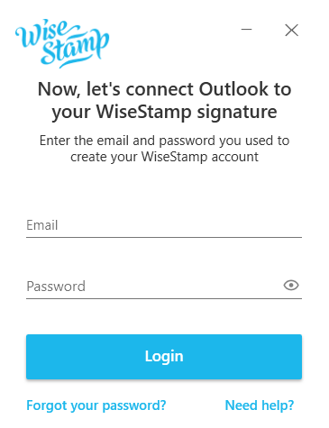 Screenshot of the WiseStamp login page showing options to login with Google or with a username and password