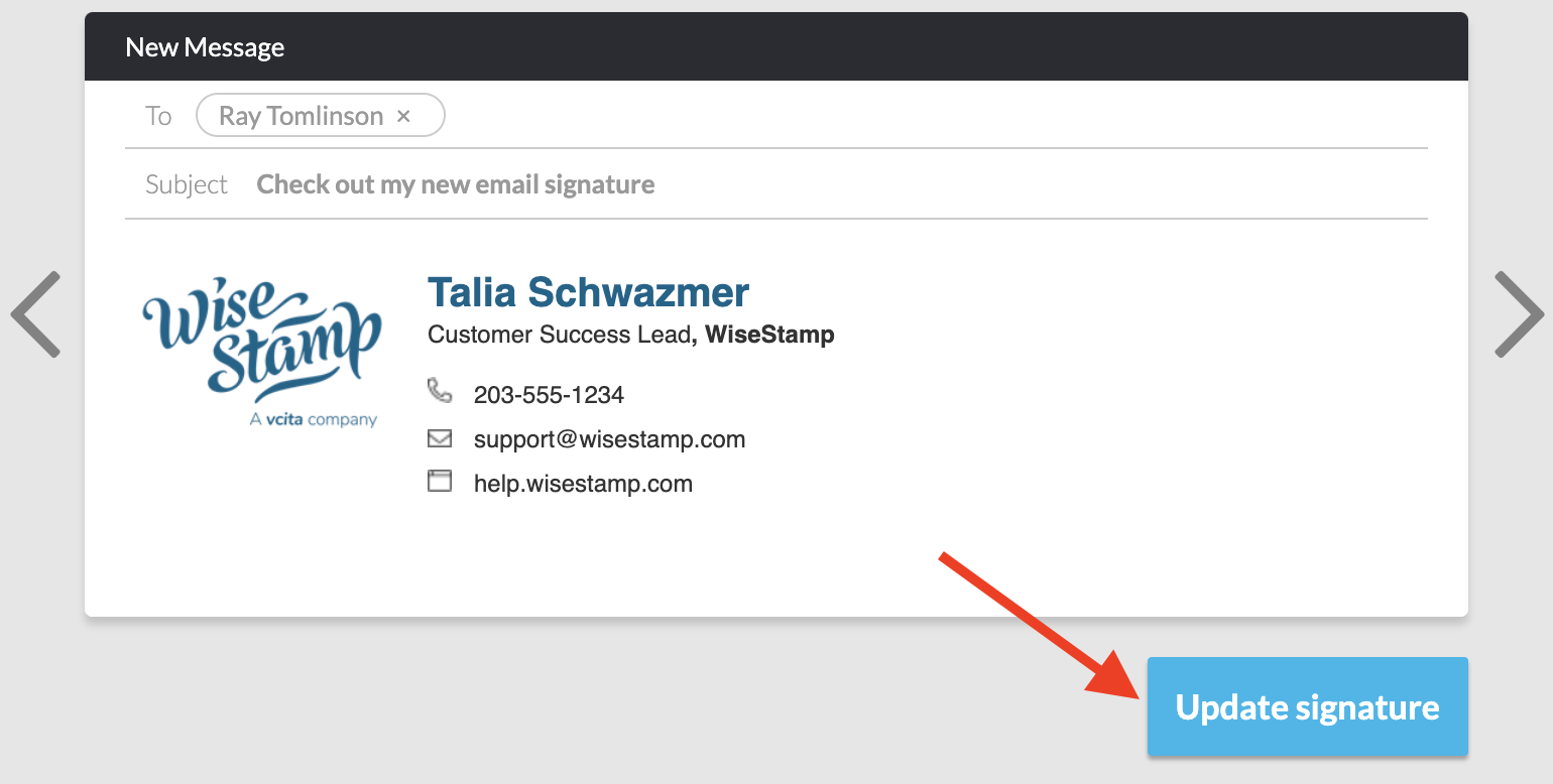 Screenshot of the WiseStamp account showing the signature preview and an arrowing poitning to a blue update signature button