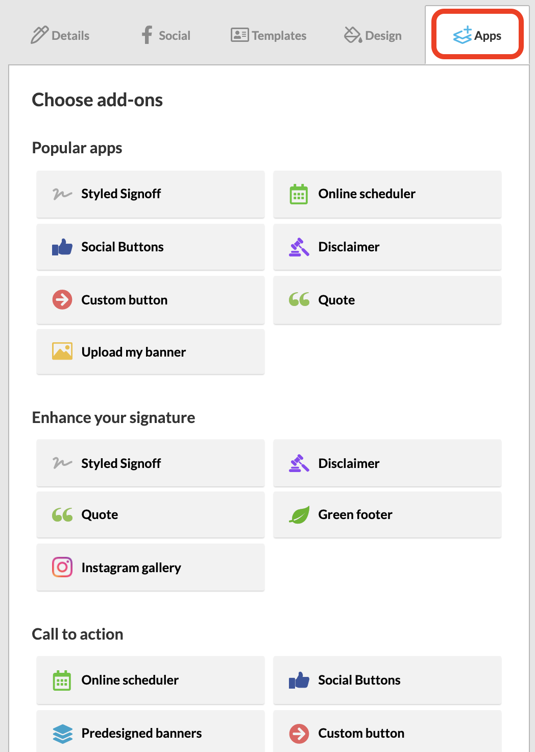 Screenshot of the WiseStamp signature Apps settings