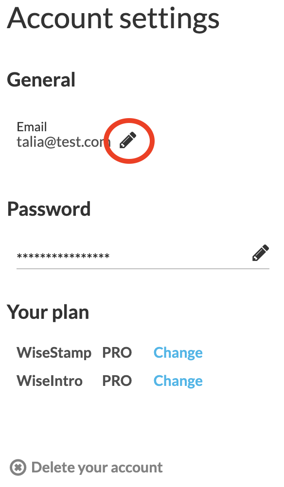 Screenshot of WiseStamp account setting with a circle around the pencil icon showing next to the email address listed at the top