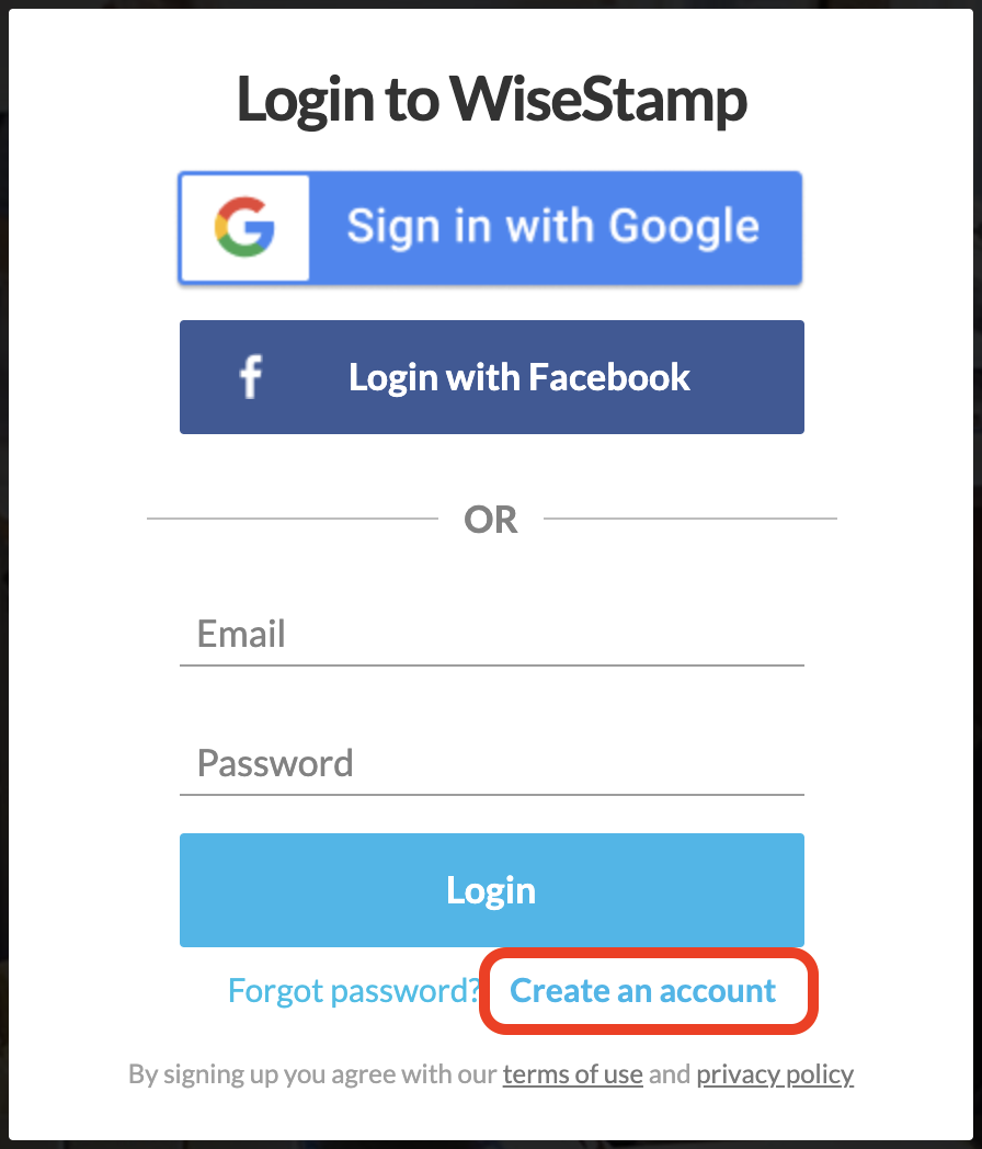 Screenshot of a WiseStamp login page with space to enter a username and password