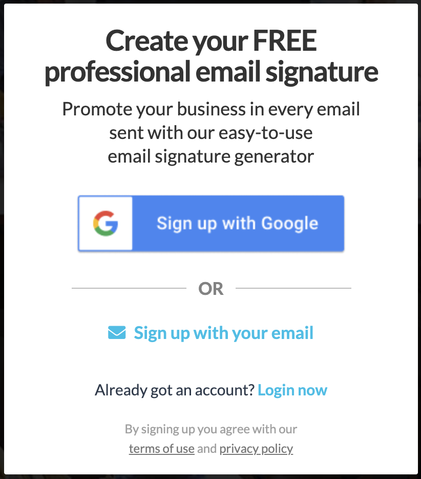 Screenshot of a WiseStamp sign up page with the option to connect with Google or type an email address