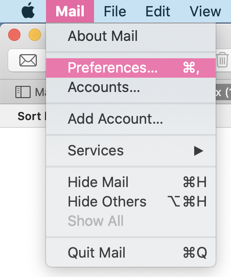 Screenshot of the Mac Mail settings with a highligh on the Preferences option