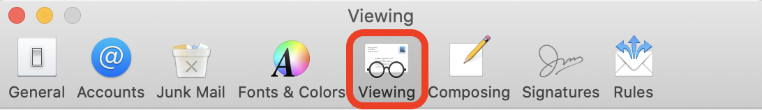 Screenshot of the Mac Mail preferences settings pop-up with a square our the viewing option