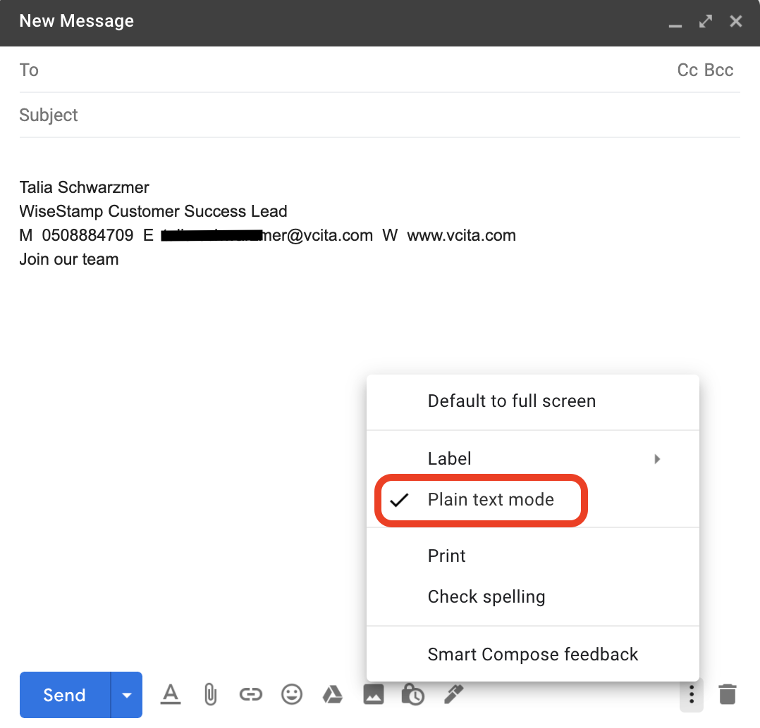 Screenshot of a new Gmail email with a pop-out list of settings and a aquare around the Plain Text option, also a checkmark next to the Plain text option