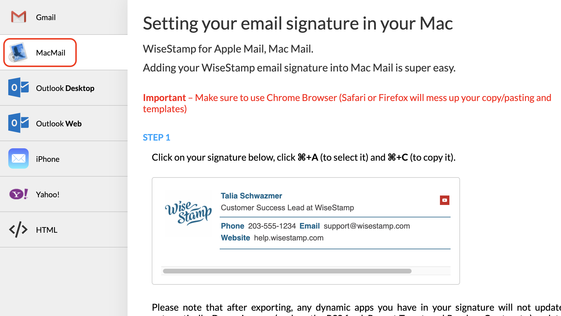 Screenshot of the Mac Mail export tool in the WiseStamp editor