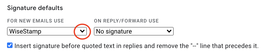 Screenshot of the Signature default settings within the Gmail signature settings, red cricle around the dropdown icon for the New emails option