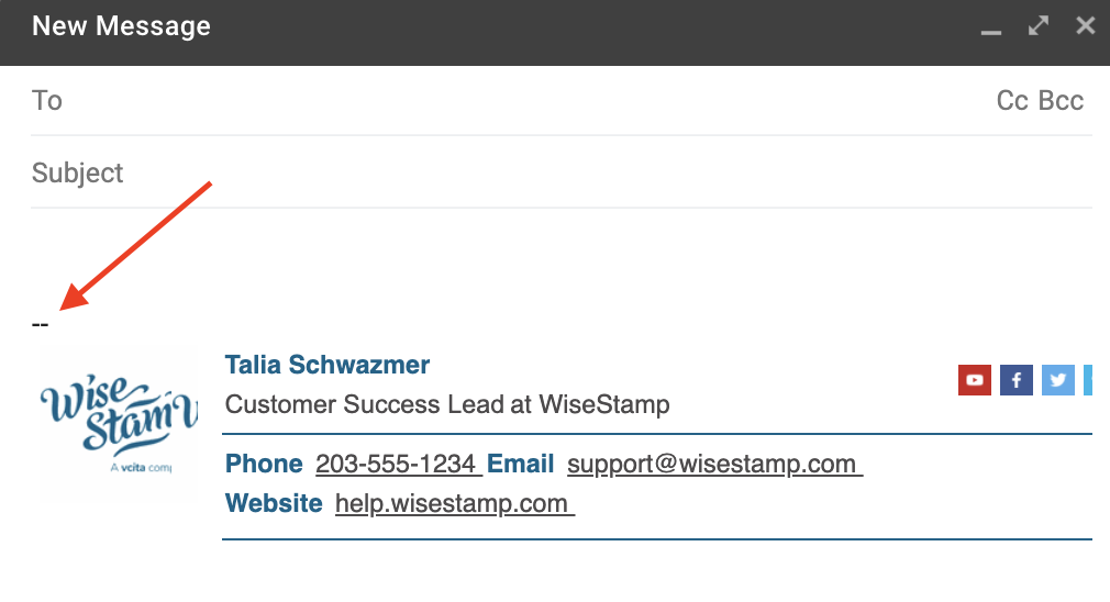 Screenshot of a new compose email in Gmail with two dashes showing above the WiseStamp signature