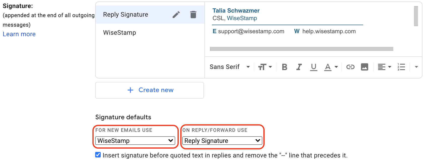 Screenshot of the Gmail signature settings with red boxes around the New Email settings and reply/forward settings