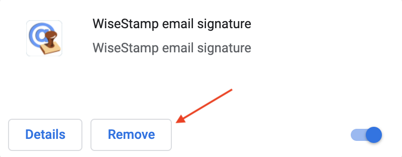 Screenshot of the WiseStamp extension listed in Chrome settings with an arrow pointing to the remove option
