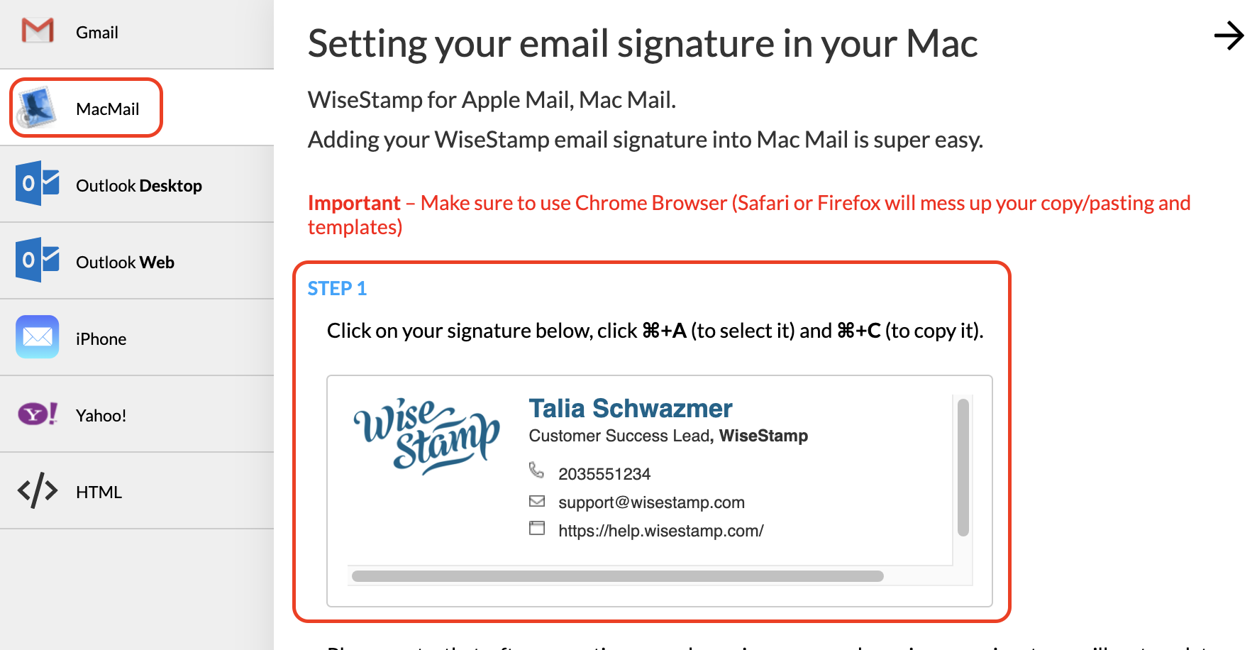 Screenshot of the WiseStamp Mac Mail export page with a red square around the signature preview to copy