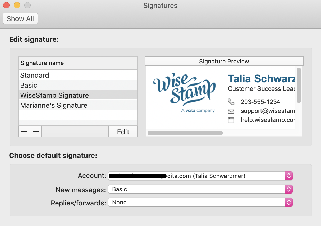 Screenshot of the Outlook on Mac signature settings pannel