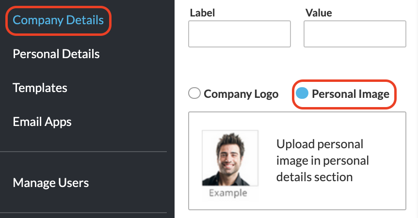 Screenshot of the WiseStamp editor company details tab showing the personal image option
